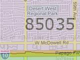 West side Phoenix 85035 Zip Code Map of Maryvale AZ